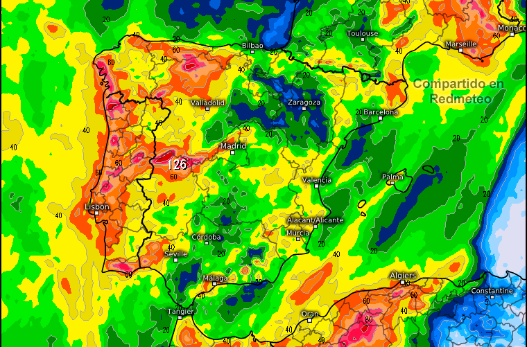 Mapa acumulados precipitación